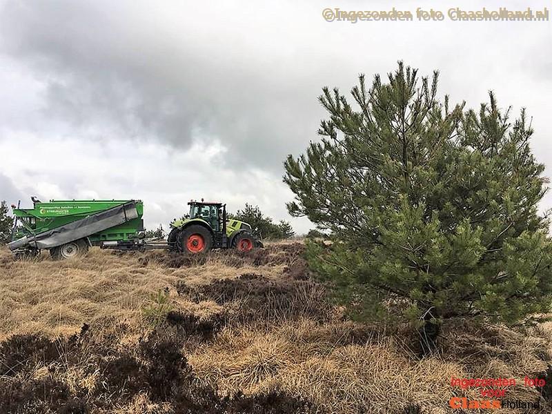 Met een Claas Axion 870 aan het werk op de Sallandse heuvelrug.